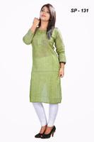Olive color with Fine show bottons long plane Summer Khadi Cotton Designer Kurtis