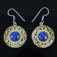 AD Stone Earrings Sapphire Gemstone Fashion Jewelry Women Designer Danglers