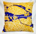 خريطة المدينة فنون الصور غطاء وسادة القطن المطبوع