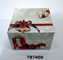 Caja de madera decoración navideña pintado
