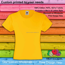 girls cheap custom printed yellow tops