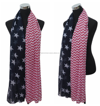 100%Polyester Chevron-and-Stars-Print-Women- - scarves scarf