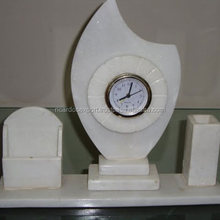 2015 Antique Imtation Marble table set clock with pen & card stand , interior decoration marble plain clock for sale