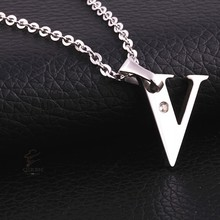 Stainless Steel Big V Letter Pendant Chain Necklace Wholesale Factory Supplier