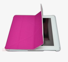 Combatable with IPad 2, 3 and 4 Magnetic Case Cover Auto Sleep and Wake Up Function Foldable Stand Mount Impact Resistant Pink