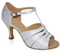 New Satin Latin Ballroom Dancing Shoes for Girls Fashion silver color best for women