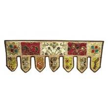 """Cotton Home Decor Door Window Valance Brown Patchwork Wall Hanging Beaded Topper India 37"""" X 12.5"""" Inches DV147"""