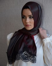 2015 New Style Exclusive High End Silk Looking Laced Hijab shawl 1122