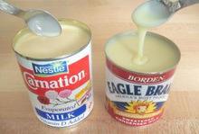 tam yağlı tatlandırılmış yoğunlaştırılmış süt ve tam yağlı buharlaşan süt