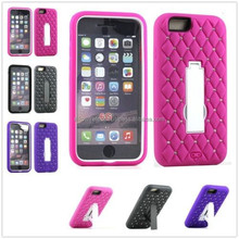 Bling Diamond Hybrid Armor Screen Stand Hard Case Cover For iPhone 6 4.7