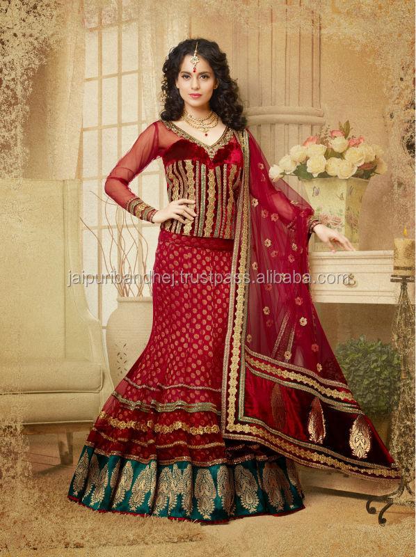 Indienne bollywood party wear designer brod de mariage de for Plus size indian wedding dresses
