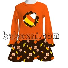 Candy corn and pumpkin knit appliqued dress