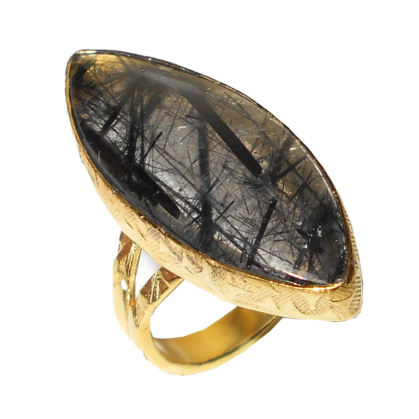 black rutile cab gemstone rings wholesale jewellery from