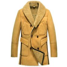 Shearling Lined Sheepskin Leather Winter Coat for Men