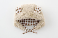 baby caps and hats wholesale unisex cute animal ear high quality check dot pattern lining and strap infant wear child clothes