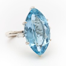 Product of The Year Jewellery - Faceted 20x10 mm Marquise Shaped Brazilian Aquamarine stone 92.5 Silver Rings at wholesale