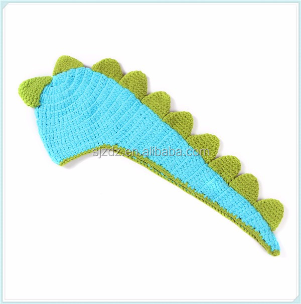 Great Dinosaur With Tail And Spikes Crocheted Baby Hat Photo Prop 0