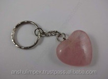 Rose Quartz Heart Keychain as souvenir, collectible and healing