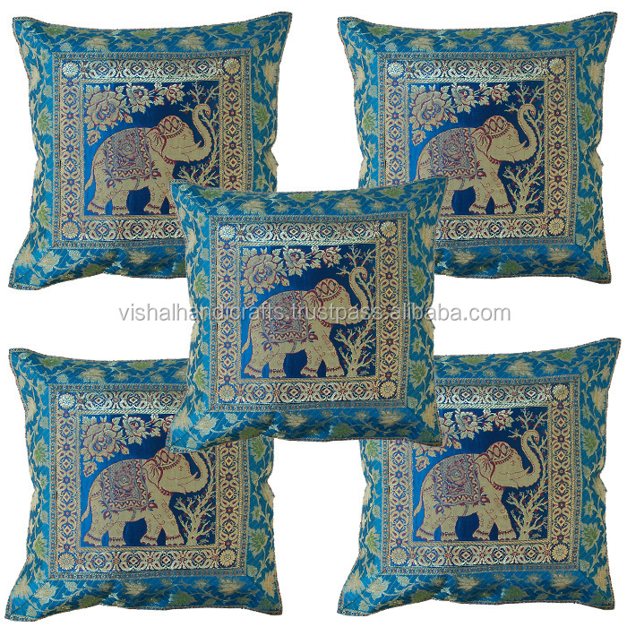 Buy indian ethnic indian antique silk sari brocade cushion for Sofa seat cushion covers india