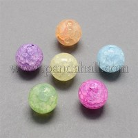 12mm Mixed Color Round Imitation Jelly Crackle Acrylic Beads, Hole: 2mm