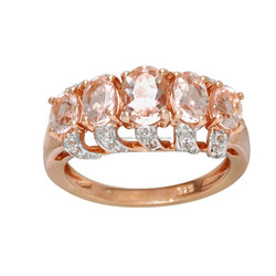 Pink Morganite, White Topaz & Rose Gold Plated Genuine Ring in 925 Sterling Silver Ring Jewelry