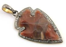 Agate Pave Set Arrowhead Pendant/Silver CZ pave pandent/2015 wholesale gemstone pandent