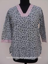 Bloque impreso pequeño algodón material superior y blusas para las muchachas