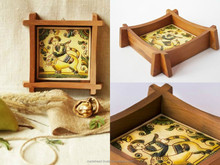 Ceramic wall panel with rustic painting