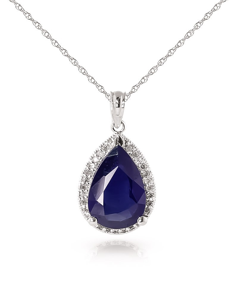 9ct white gold necklace with 5 10ct sapphire pendant buy