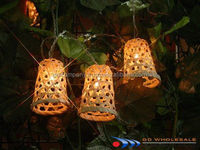Bamboo baskets decor Light up wall with Eco-friendly / for fruit - Bamboo Lantern String Lights - Natural Bamboo Handicraft