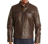 2014 New Customize latest design High quality Leather Jacket for men in brown