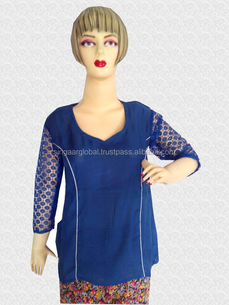 2015 New Style Fashionable Ladiestop Blouse Blue Color Party Wear Customizable Buy