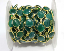 Green Onyx Round Briollete Stations Bezel Beaded Gold Plated Designer 925 Sterling Silver Chain