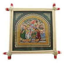Decorative Lord Krishna & Rukmani Painting Bamboo Framed Hindu Religious Wall Miniature Wall Decor Art India