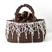 New Fashion nature bag made of paper and lace for woman & girl lace fringed