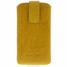 Geniune Leather case for iPhone 5 / iPhone 5s Slide Washed Yellow Cow Leather