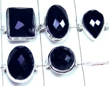 Plain Setting 5 Pic Lot Onyx Chaker cut gemstone silver Rings Value Pack-JVR022