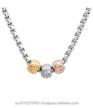 Stainless Steel Necklace tri color gold 18 inch designer chain rose yellow and white 18k gold many styles