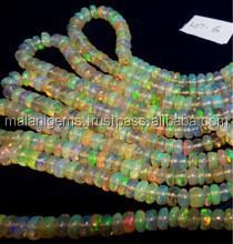 Welo Fire Opal Beads, Yellow Base Multi Color Fire Opal Beads