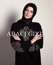 2015 new fashion abaya muslim dress sleeve black kaftan dubai fashion embroidery maxi arab clothing modern lady women turkish