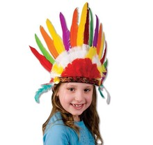 DELUXE FEATHER INDIAN HEADDRESS