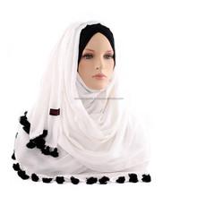 hand tassels hijab pompom hijab