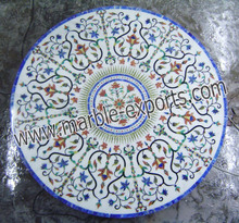 Semi Precious Stone inlay Dinning Table marble inlaid white table top