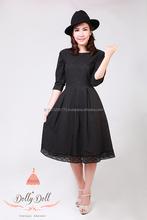 Dollydoll elegant vintage cotton black lace dress made in Thailand