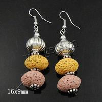 Gemstone Drop Earring Lava with Copper Coated Plastic brass earring hook 16x9mm Length:Approx 2.4 Inch Sold By Pair