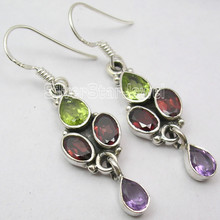 Multi Color Jewelry !! 925 Sterling Silver MULTISTONES TRIBAL Earrings 4 CM NEW