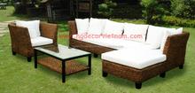Corner water hyacinth living sofa set, acaica wood frame, water hyacinth furniture from Vietnam