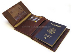 New Style Brown Tri - Folded Genuine Leather Passport Case