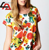 Top New Sublimation digital polo shirts with logo/Hot-Selling-Casual-weet-Fruit-orange-Flowers-Print-Chiffon-Blouse-Tops