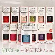 42 Cnd Shellac Colors + Base & Top 7.3ml Full Set Lot All Kit Uv